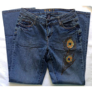 EUC Boot cut jeans with peacock embellishment 6P